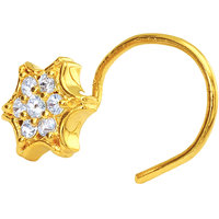 Mahi Gold Plated Gleaming Estoile Nosepin with CZ for Women NR1100149G