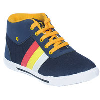 Mens Blue,Yellow Lace-up Casual Shoes