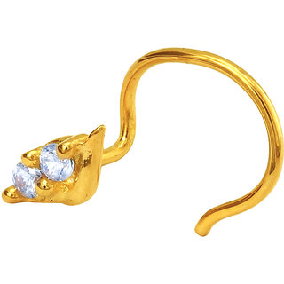 Mahi Gold Plated Beguile Beauty Nosepin with CZ for Women NR1100141G