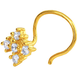 Mahi Gold Plated Mystical Charm Nosepin with CZ for Women NR1100145G