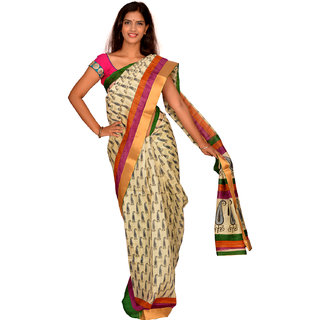 Jagadamba Solid Bhagalpuri Silk Saree