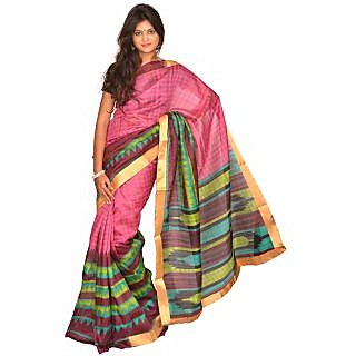 Jagadamba Checkered Bhagalpuri Silk Saree