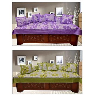 Akash Ganga Purple  Green 100 Cotton Floral Diwan Set (KM665)