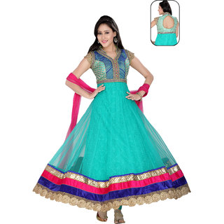 Idha Readymade Light Blue Net Anarkali Suit