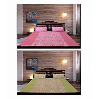 Akash Ganga Pink & Green Floral Cotton 2 Bedsheets with 4 Pillow Covers (KM685)