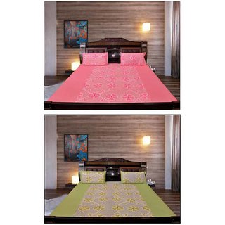 Akash Ganga Special Combo of 2 Cotton Bedsheets with 4 Pillow Covers (KM687)