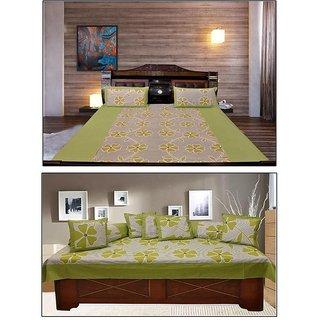Akash Ganga Green Floral Double Bedsheet  Diwan Set (KM697)
