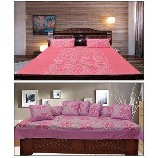 Akash Ganga Florious Combo of Double Bedsheet  Diwan Set (KM700)