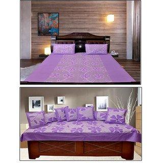 Akash Ganga Beautiful PURPLE Combo of Double Bedsheet  Diwan Set (KM701)