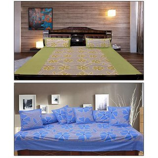 Akash Ganga GreenBlue Floral Cotton Double Bedsheet with 2 Pillow Cover (KM704)