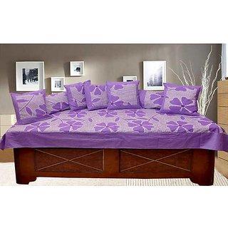 Akash Ganga Purple Cotton Floral Diwan Set (8 Pieces) (KM710)