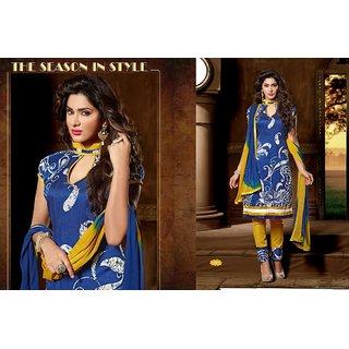 Dsc Blue Yellow Silk Blend Suit Dress Material