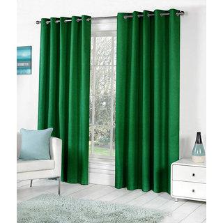 VAP Mart Set of 2 Polyester Faux Silk Eyelet Door Dark Green Curtain-9Ft