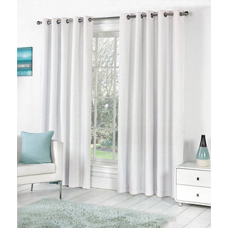VAP Mart Set of 2 Polyester Faux Silk Eyelet Door White Curtain-9Ft