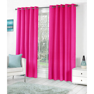 VAP Mart Set of 2 Polyester Faux Silk Eyelet Window PEACH Curtain-6Ft