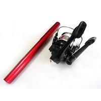 Pen Shape Pocket Fishing Rod Reel Fishing Set - Red