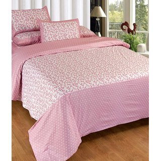 Fresh From Loom Graceful Cotton Pink Double Bed Sheet with 2 Pillow Cover