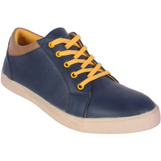 George Adam MenS Blue Casual Shoe With Yellow Lace-Up