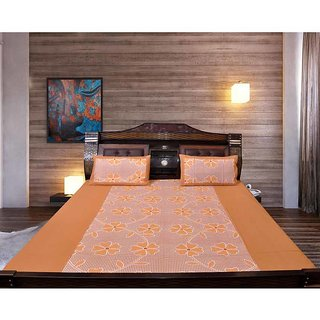 Akash Ganga Brown Cotton Double Bedsheet with 2 Pillow Covers (KM655)