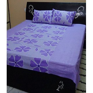 Akash Ganga Blue Cotton Double Bedsheet with 2 Pillow Covers (KM658)