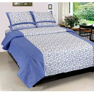 Akash Ganga Blue Cotton Double Bedsheet with 2 Pillow Covers (KM663)