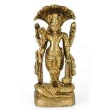 Redbag Lord Vishnu Under Sheshnag Shelter Auspicious Statue Brass Narayan Figure