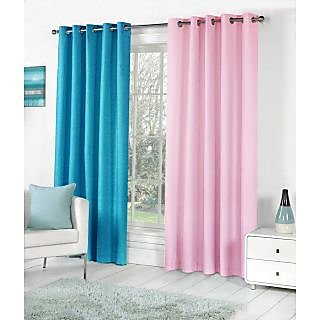 VAP MART Combo AQUABPINK Polyester Faux Silk Eyelet Door Window Curtain -9FT
