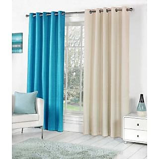 VAP MART Combo AQUACREAM Polyester Faux Silk Eyelet Door Window Curtain -6FT