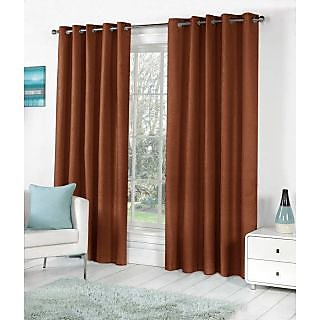VAP Mart Set of 3 Polyester Faux Silk Eyelet Window Brown Curtain-5Ft