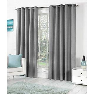 VAP Mart Set of 4 Polyester Faux Silk Eyelet Window GREY Curtain-6Ft