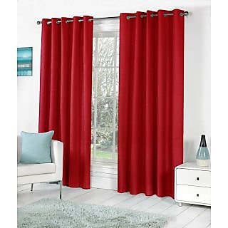 VAP Mart Set of 3 Polyester Faux Silk Eyelet Window Maroon Curtain-4Ft