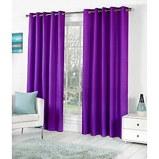VAP Mart Set of 3 Polyester Faux Silk Eyelet Door Purple Curtain-8Ft
