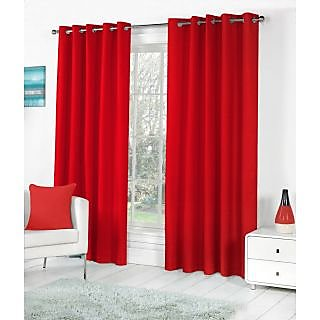 VAP Mart Set of 3 Polyester Faux Silk Eyelet Door Red Curtain-7Ft