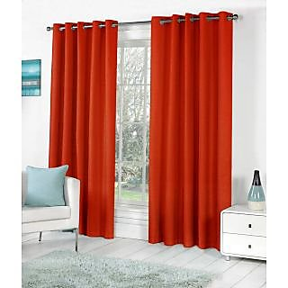 VAP Mart Set of 4 Polyester Faux Silk Eyelet Door Rust Curtain-7Ft