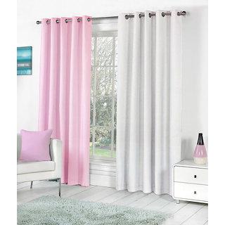 VAP MART Combo BPINKWHITE Polyester Faux Silk Eyelet Door Window Curtain -7FT