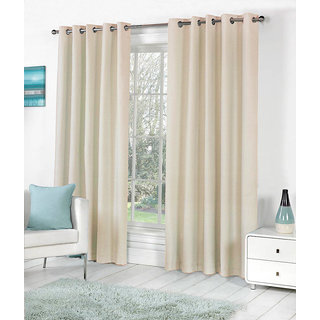 VAP Mart Set of 4 Polyester Faux Silk Eyelet Door Cream Curtain-10Ft