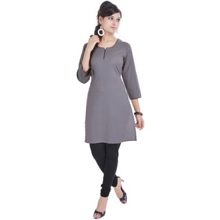 Shop Rajasthan Solid Grey 3/4 Sleeve Womens Cotton Kurti (SRE2397)