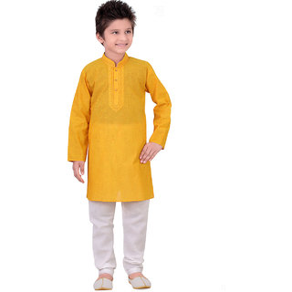 Pagli Boys Handloom Yellow Kurta Churidar For Boys - PBD6212-764_6