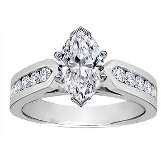 18 Kt White Gold Fashionable Solitiare Diamond Ring For Wedding (Design 7)