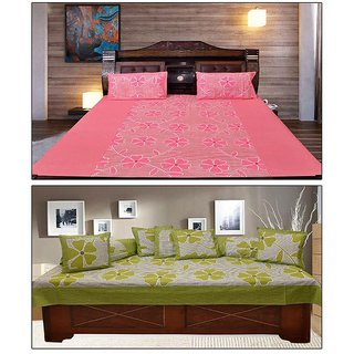 AKASH GANGA  COTTON BEDSHEET WITH 2 PILLOW COVERS  DIWAN SET 8 PCS (KM672)