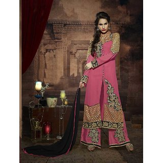 Thankar Peach And Beige Embroidered Georgette Straight Suit