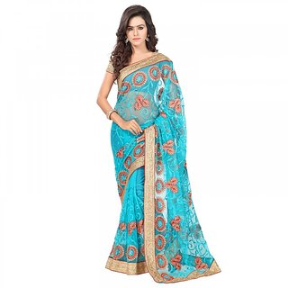 Sareemall Blue Net Embroidered Saree With Blouse