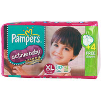 Pampers  Active Baby Diapers Super Jumbo Pack  Extra Large - 56Pcs (12 - 17 Kgs)