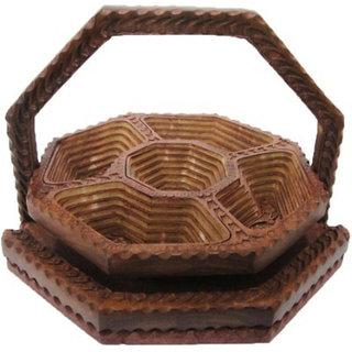 Onlineshoppee 1 Piece Condiment Set Wooden Fruit Basket