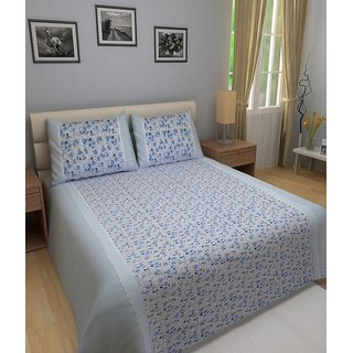 WonderKart Blue Cotton Printed Double Bedsheet with 2 pillow cover