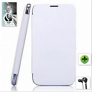 Flip Cover for Micromax A76   White + HD Earphones available at ShopClues for Rs.235