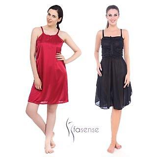 Fasense Women Satin Nightwear Sleepwear Combo Set of  2 Short Nighty DPCOM19L