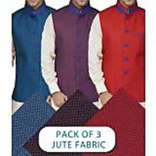 Gwalior Pack of 3 Modi Jacket Jute Fabric