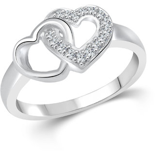 Vighnaharta Hum Tum Heart (CZ) Rhodium Plated  Ring