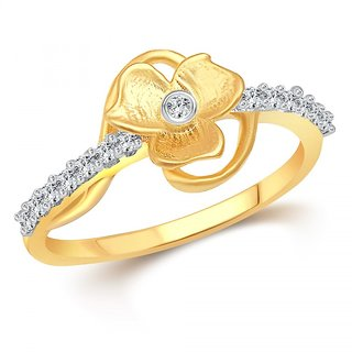 Vighnaharta Florida (CZ) Gold and Rhodium Plated  Ring